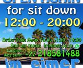 Open for sit down again 12:00-20:00